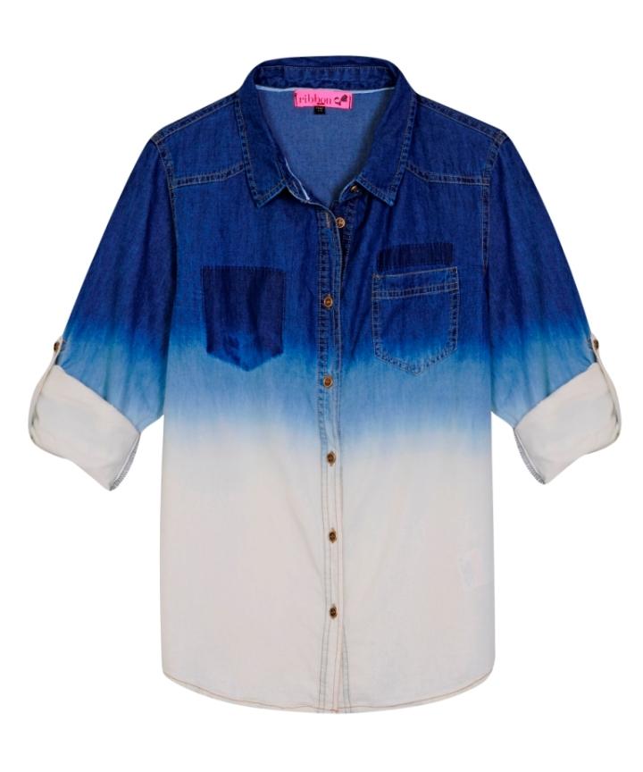 Ribbon dip dye denim shirt