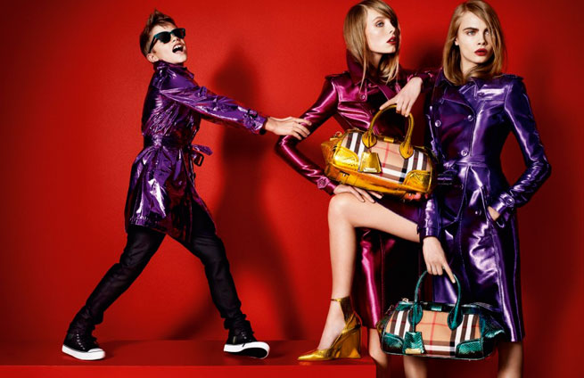 Romeo-Beckham-Poses-With-Cara-Delevingne-In-Matching-Metallic-Macs-For-Burberry_s-Spring-2013-Campaign-