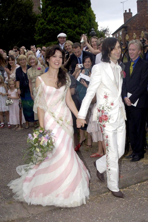 With Kate Moss as one of your wedding guests there's always a chance you could be overshadowed, but Primal Scream frontman Bobby Gillespie and his bride neatly sidestepped the problem by arriving.
