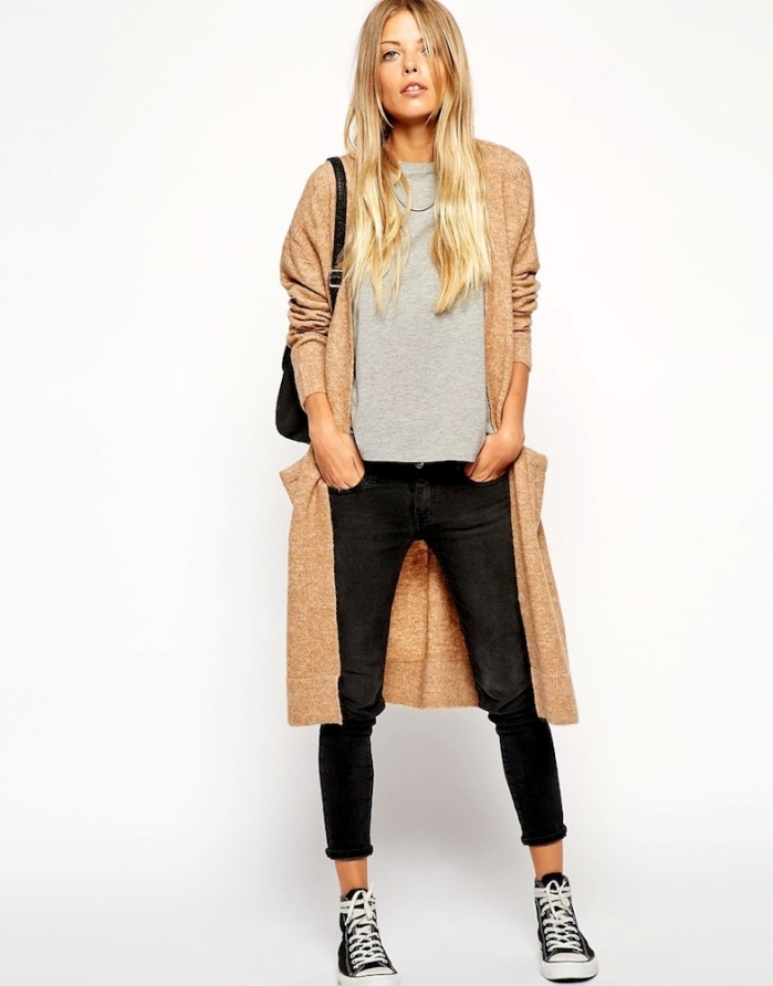 Le-Fashion-Blog-Weekend-Uniform-Asos-Long-Cardigan-Grey-Tee-Cropped-Black-Jeans-Converse-Sneakers