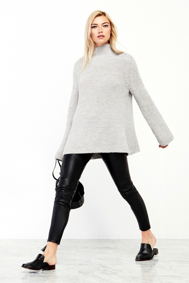 Le-Fashion-Blog-Reformation-Emu-Oversized-Turtleneck-Sweater-Grey-Ribbed-Knit-Cropped-Leather-Pants-Tibi-Mule-Flats