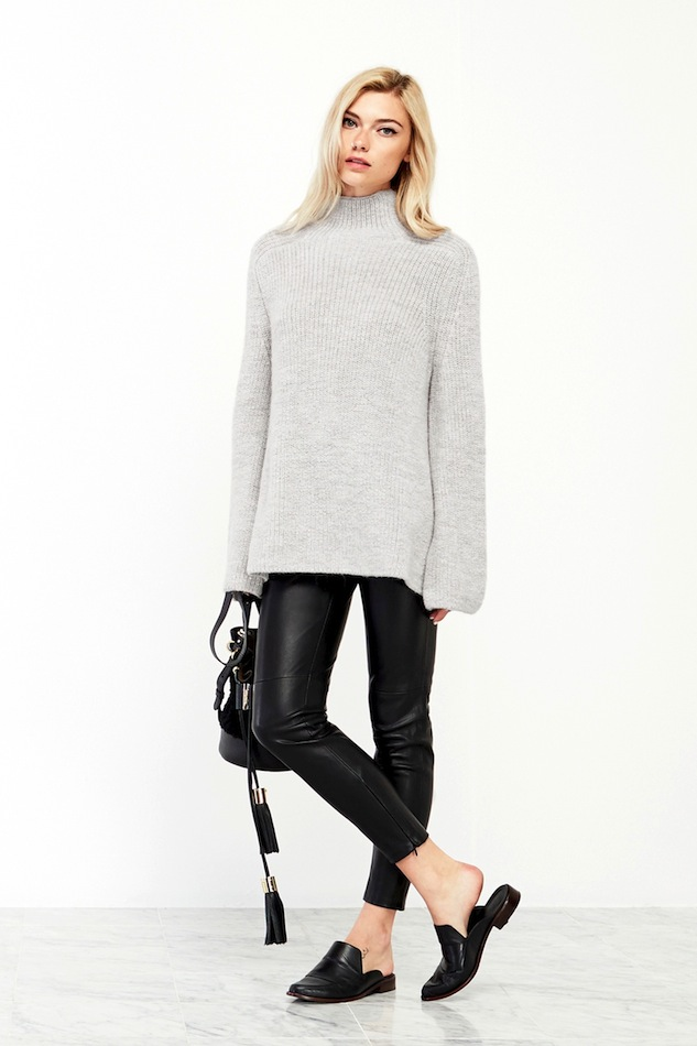 Le-Fashion-Blog-Reformation-Emu-Oversized-Turtleneck-Sweater-Grey-Tassel-Chloe-Vicki-Bucket-Bag-Leather-Pants-Tibi-Mule-Flats
