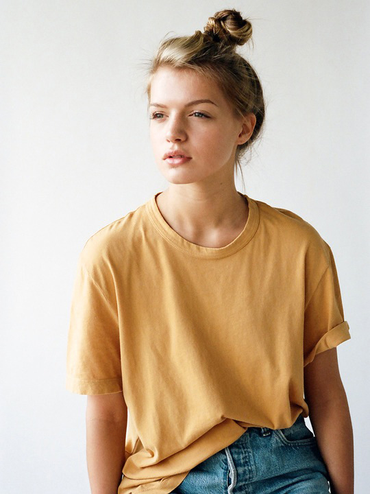 Le-Fashion-Blog-Weekend-Style-Top-Knot-Bun-Mustard-Yellow-Tee-Jeans-Lady-Gunn-Tom-Slack