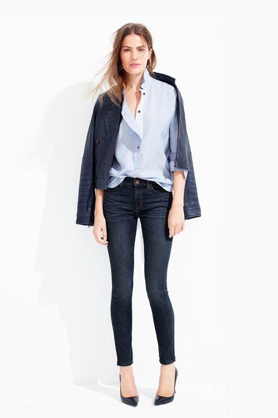 Le-Fashion-Blog-Casual-Friday-Work-Office-Style-JCrew-Navy-Leather-Jacket-Light-Blue-Button-Down-Shirt-Dark-Skinny-Jeans-Black-Pumps