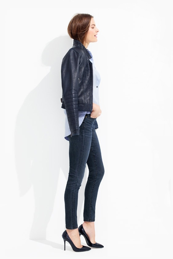 Le-Fashion-Blog-Casual-Friday-Work-Style-JCrew-Navy-Leather-Jacket-With-Ribbed-Sleeves-Blue-Button-Down-Shirt-Dark-Wash-Skinny-Jeans-Classic-Black-Heels