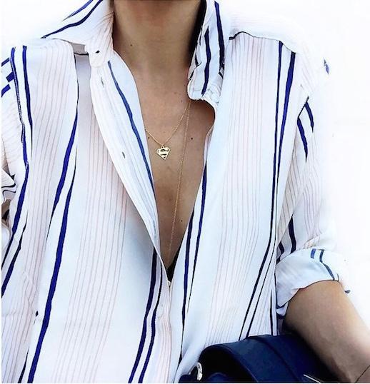 Le-Fashion-Blog-25-Ways-To-Wear-A-Striped-Button-Down-Shirt-Blue-Stripes-Superman-Necklace-Via-Marianna-G