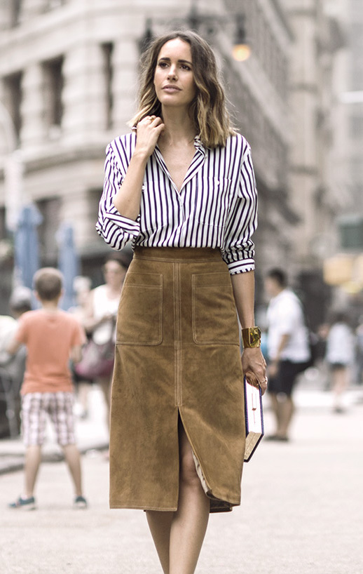 Le-Fashion-Blog-25-Ways-To-Wear-A-Striped-Button-Down-Shirt-Suede-Tan-Skirt-Louise-Roe-Via-Garance-Dore_1