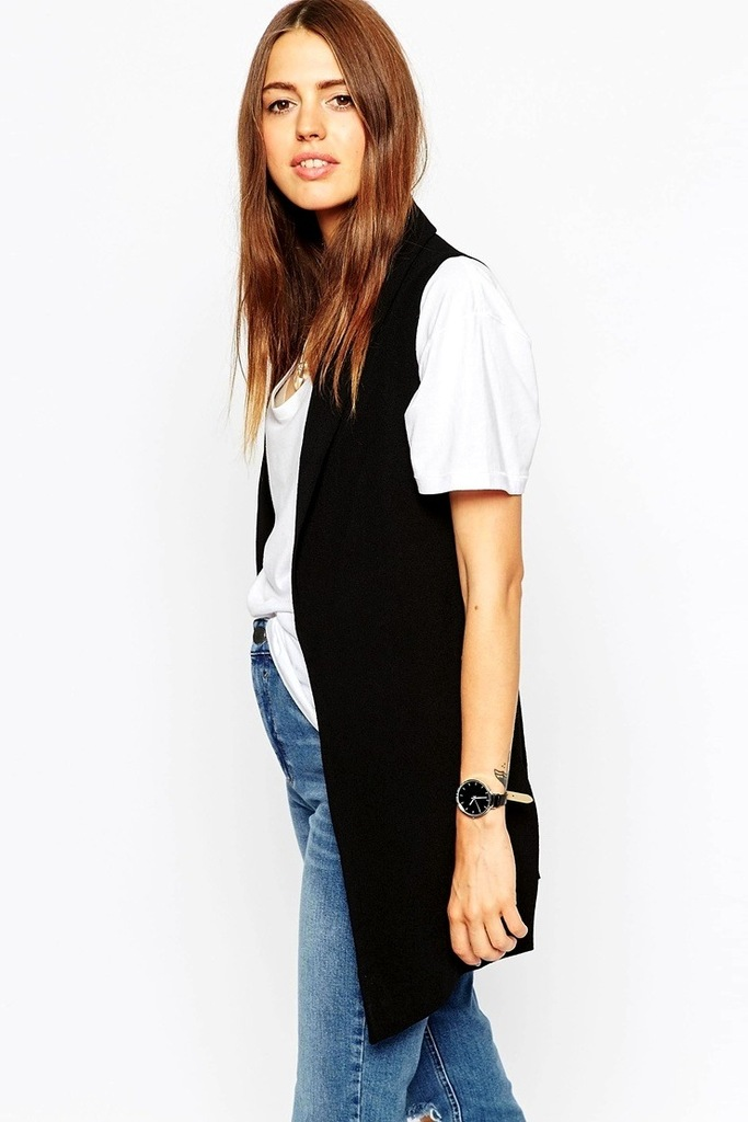 Le-Fashion-Blog-Black-Sleeveless-Blazer-Vest-White-Tee-High-Waisted-Jeans-Black-Round-Watch-Effortless-Wavy-Hair-Affordable-Budget-Friendly-Via-ASOS