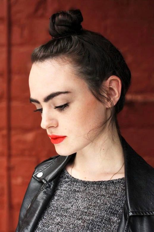 Le-Fashion-Blog-Makeup-Beauty-Top-Knot-Bright-Red-Orange-Lips-Lipstick-Leather-Moto-Jacket-Melange-Knit-Sweater-Via-Ulta
