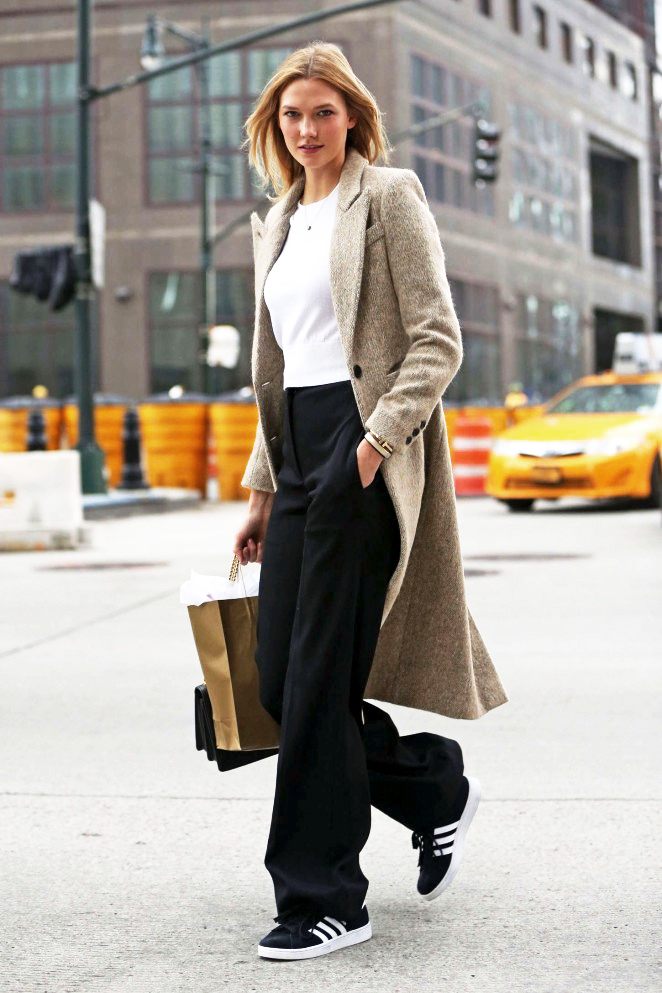 Le-Fashion-Blog-Model-Karlie-Kloss-Fall-Winter-Style-Tweed-Texture-Coat-Cropped-Sweater-Flared-Wide-Leg-Pants-Adidas-Sneakers