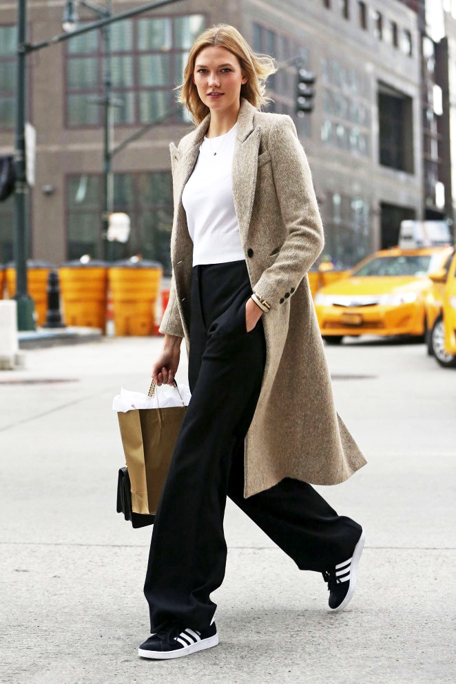 Le-Fashion-Blog-Model-Karlie-Kloss-Fall-Winter-Style-Tweed-Texture-Coat-Cropped-Sweater-Wide-Leg-Pants-Adidas-Sneakers