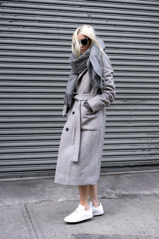 Le-Fashion-Blog-Winter-Style-White-Tortoise-Sunglasses-Grey-Oversized-Scarf-Belted-Longline-Coat-Charcoal-Ribbed-Sweater-White-Sneakers-Via-FIGTNY