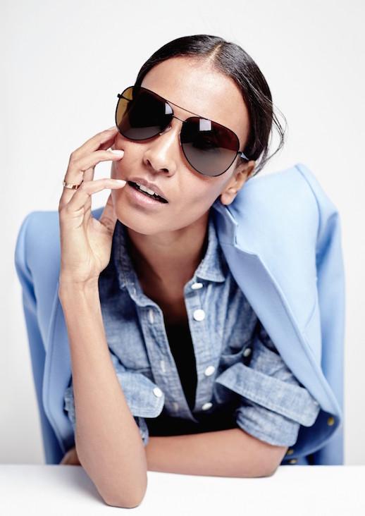Le-Fashion-Blog-JCrew-Black-Classic-Aviator-Sunglasses-Lookbook-Liya-Kebede-Blue-Blazer-Chambray-Shirt