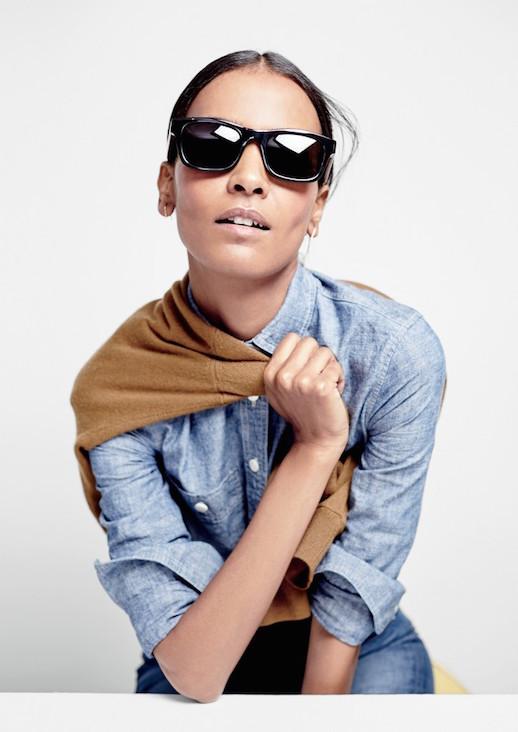 Le-Fashion-Blog-JCrew-Black-Rectangular-Sunglasses-Lookbook-Liya-Kebede-Camel-Sweater-Denim-Shirt-Light-Blue-Jeans