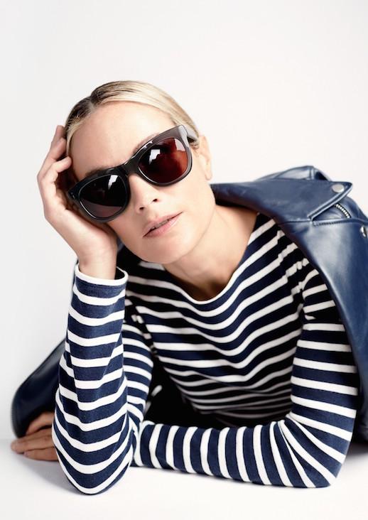 Le-Fashion-Blog-JCrew-Grey-Oversized-Sunglasses-Lookbook-Carolyn-Murphy-Striped-Shirt-Leather-Jacket