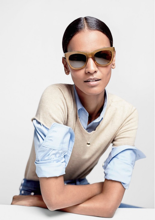 Le-Fashion-Blog-JCrew-Milky-Brown-Oversized-Sunglasses-Lookbook-Liya-Kebede-Tee-Shirt-Sweater-Blue-Button-Down-Shirt-Denim