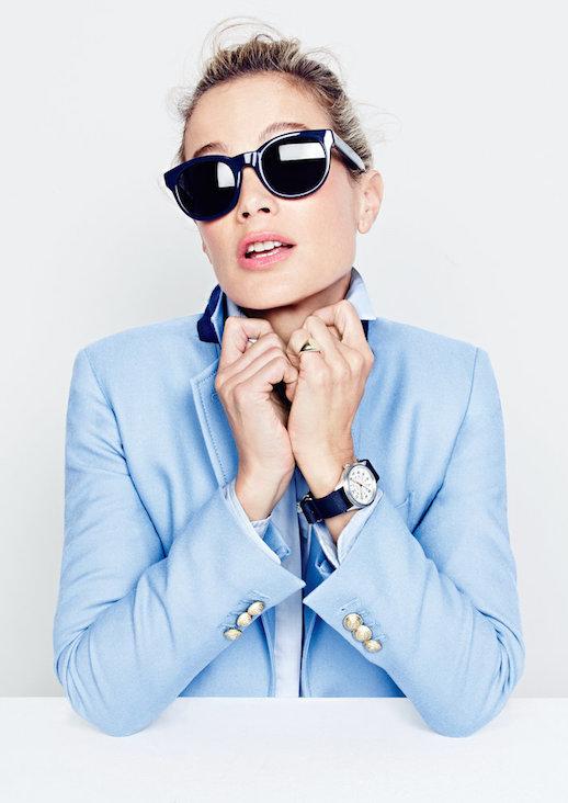 Le-Fashion-Blog-JCrew-Navy-Round-Sunglasses-Lookbook-Liya-Kebede-Light-Blue-Blazer