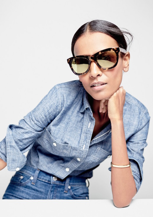 Le-Fashion-Blog-JCrew-Oversized-Tortoise-Sunglasses-Lookbook-Liya-Kebede-Chambray-Button-Down-Shirt-Light-Wash-High-Waisted-Jeans